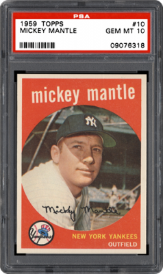 1959 topps 10 mickey mantle 57200